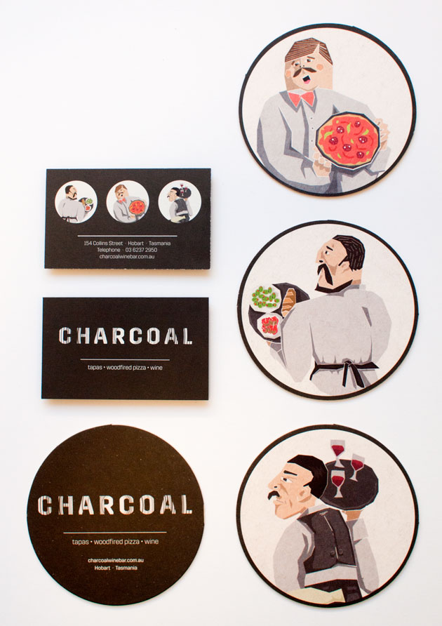 GRAPHICS Charcoal coasters & business cards