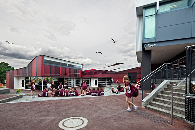 Ogilvie High School Student Centre, courtyard