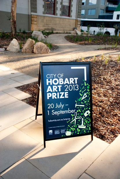 NEWS- Liminal Graphics, City of Hobart Art Prize 2013, Sandwich Board