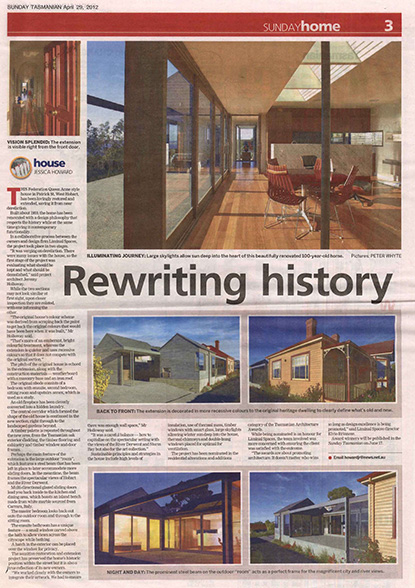 News Feature - Liminal Spaces - Patrick Street Residence featured in Sunday Tasmanian